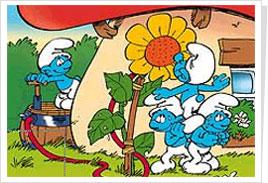 zgrywus, ważniak, śpioch, smoksmerf, smerfnaczelnik, smerfetka, robot, pracuś, poeta, papa smerf, osiłek, marzyciel, maruda, malarz, latający smerf, łasuch, laluś, kochaś, harmoniusz, farmer